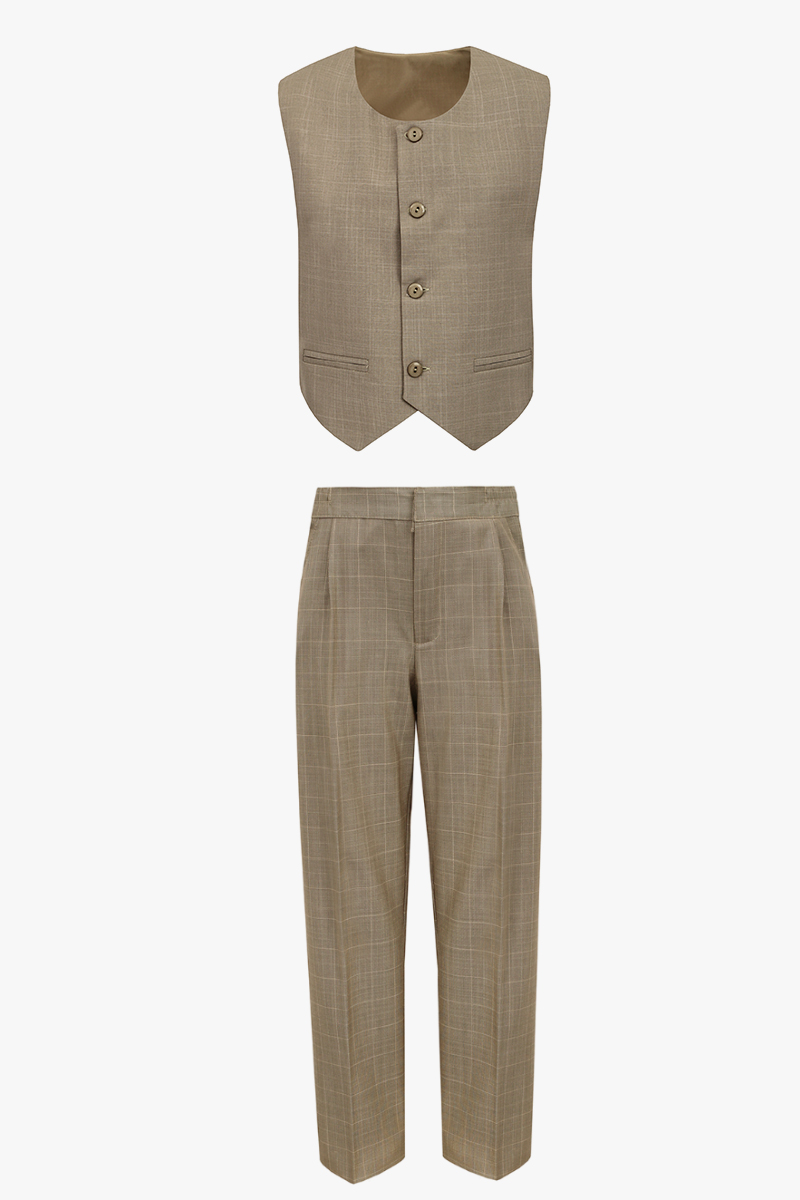 28ab01d003b300 Komplet garniturowy spodnie i kamizelka cappuccino - GARNITURY I ...